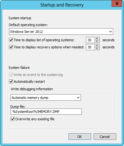 Configuring startup and recovery options.