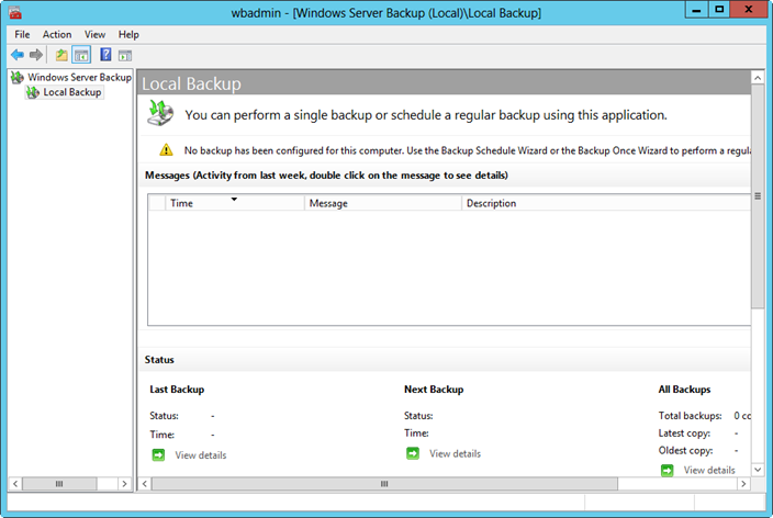 Getting started with Windows Server Backup.