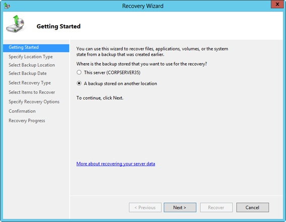 Recover data stored on another server.