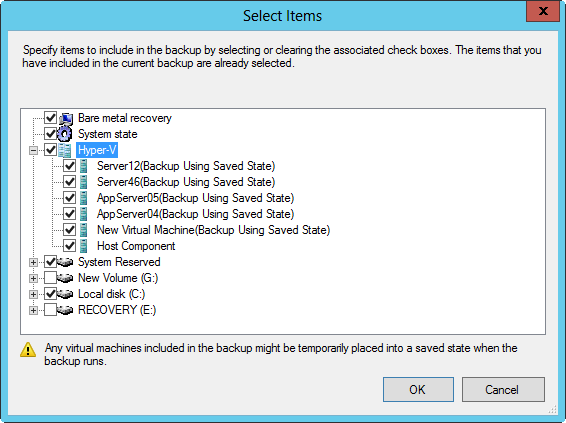 Select items to include in the backup.