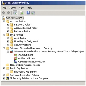 The security settings available in the local GPO