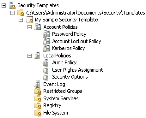 Security settings in a security template