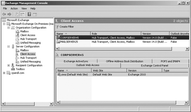 Select the Client Access server with which you want to work.