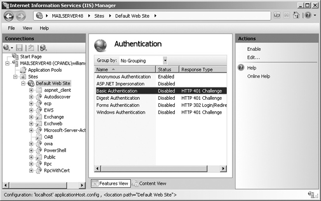 Use the Authentication page to set access control on virtual directories. Virtual directories can have different authentication settings than the Web site.