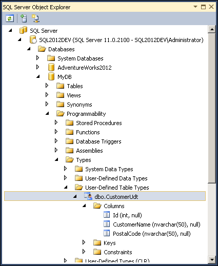 User-defined table types that can be used for TVPs displayed in SQL Server Object Explorer.