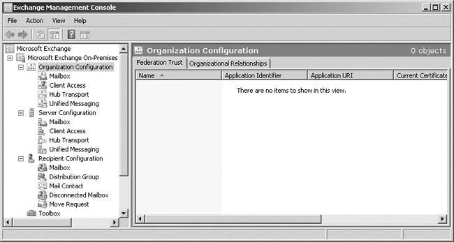 The Organization Configuration node extends to administrator roles as well as other organization-wide settings.
