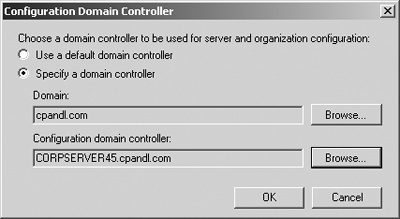 Specify the domain and domain controller to use.