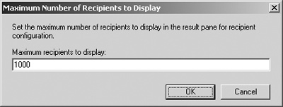 Specify the number of recipients to display.