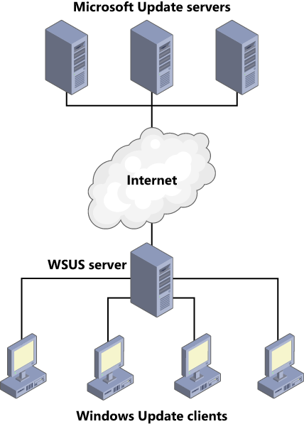 WSUS downloading a single copy of each update and distributing it to the network.