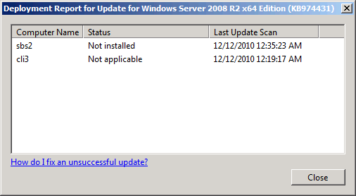 An Update's Deployment Report window.