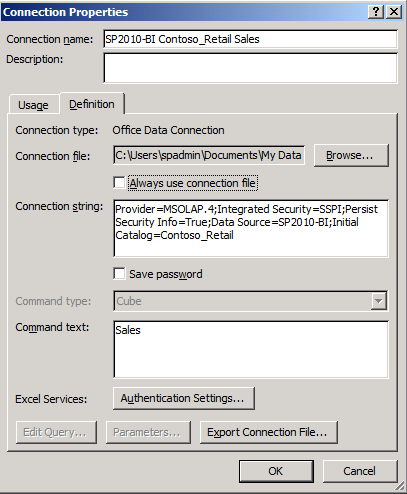 To publish an existing Office Data Connection file (.odc) to SharePoint